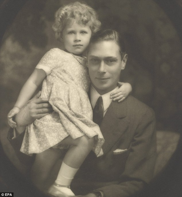 Queen Elizabeth and father.